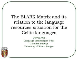 The BLARK Matrix and its relation to the language resources situation for the Celtic languages