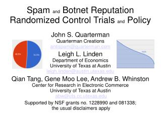 Spam  and  Botnet Reputation Randomized Control Trials  and  Policy