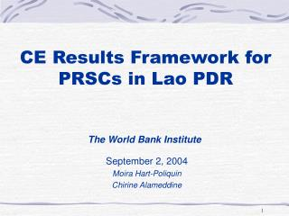 CE Results Framework for PRSCs in Lao PDR