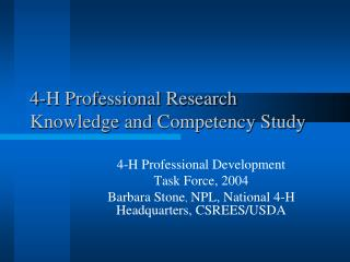 4-H Professional Research Knowledge and Competency Study