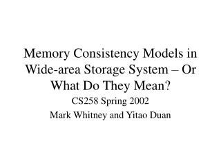 Memory Consistency Models in Wide-area Storage System – Or What Do They Mean?