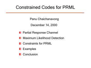 Constrained Codes for PRML
