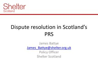 Dispute resolution in Scotland's PRS