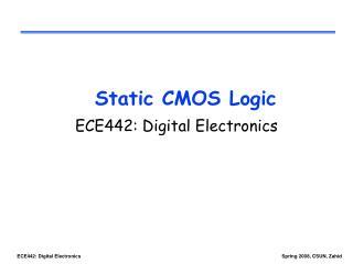 Static CMOS Logic