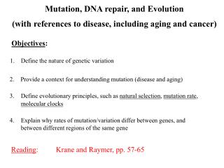 Mutation, DNA repair, and Evolution (with references to disease, including aging and cancer)