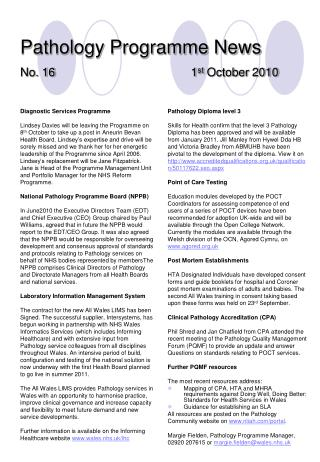 Pathology Programme News No. 16 1 st  October 2010