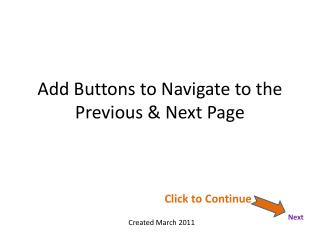 Add Buttons to Navigate to the Previous & Next Page