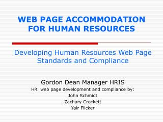 WEB PAGE ACCOMMODATION FOR HUMAN RESOURCES