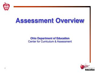 Assessment Overview Ohio Department of Education Center for Curriculum & Assessment