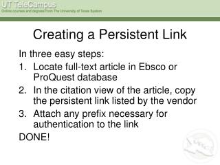 Creating a Persistent Link