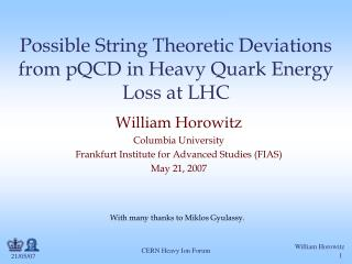 Possible String Theoretic Deviations from pQCD in Heavy Quark Energy Loss at LHC