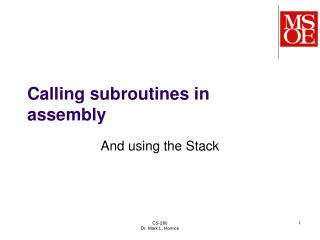 Calling subroutines in assembly