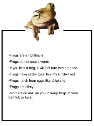 Frogs are amphibians Frogs do not cause warts If you kiss a frog, it will not turn into a prince