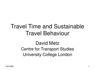 Travel Time and Sustainable Travel Behaviour