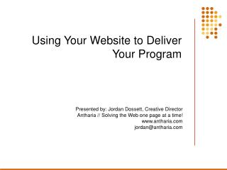 Using Your Website to Deliver Your Program