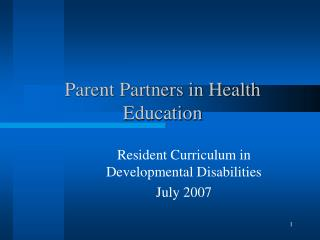 Parent Partners in Health Education