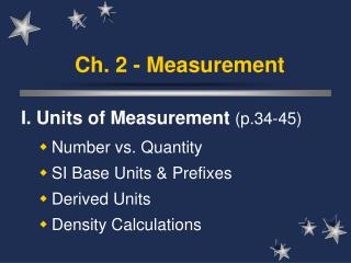 Ch. 2 - Measurement