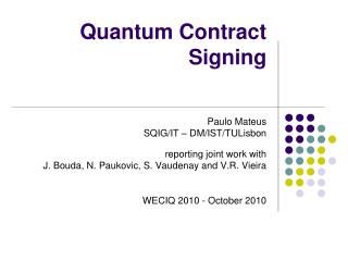 Quantum Contract Signing