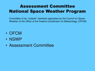 Assessment Committee National Space Weather Program