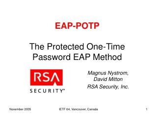 EAP-POTP The Protected One-Time Password EAP Method