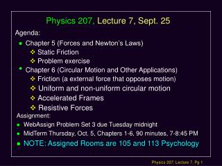 Physics 207, Lecture 7, Sept. 25