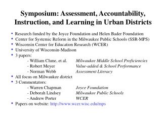 Symposium: Assessment, Accountability, Instruction, and Learning in Urban Districts
