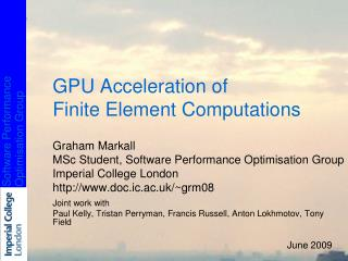GPU Acceleration of  Finite Element Computations