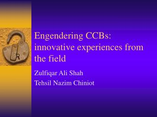 Engendering CCBs: innovative experiences from the field
