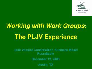 Joint Venture Conservation Business Model Roundtable December 12, 2006 Austin, TX