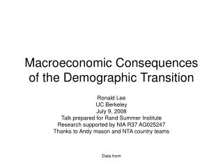 Macroeconomic Consequences of the Demographic Transition