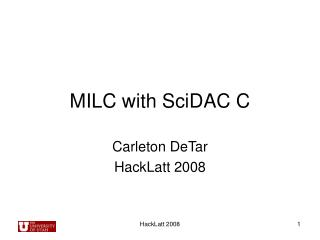 MILC with SciDAC C