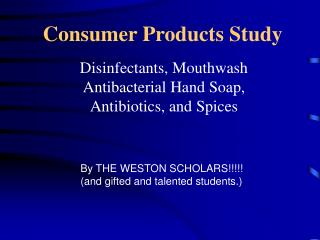 Consumer Products Study