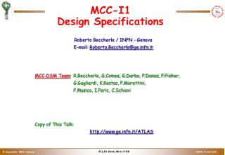 MCC-I1  Design Specifications