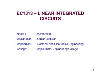 EC1313 – LINEAR INTEGRATED CIRCUITS