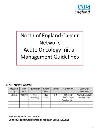 North of England Cancer Network Acute Oncology Initial Management Guidelines