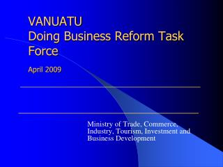 VANUATU Doing Business Reform Task Force