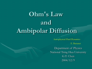 Ohms Law and  Ambipolar Diffusion