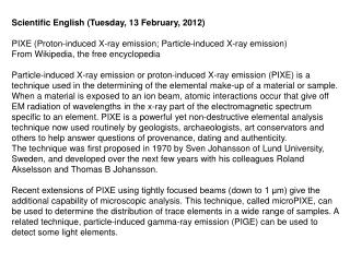 Scientific English (Tuesday, 13 February, 2012)