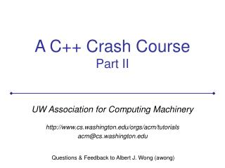 A C++ Crash Course Part II