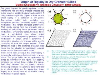 Origin of Rigidity in Dry Granular Solids Bulbul Chakraborty, Brandeis University, DMR 0905880