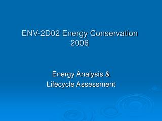 ENV-2D02 Energy Conservation 2006