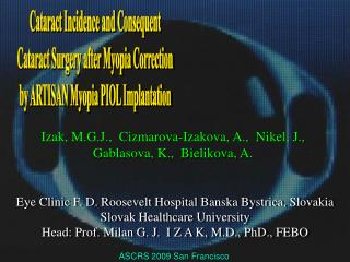 Cataract Incidence and Consequent   Cataract Surgery after Myopia Correction