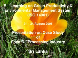 E   Learning on Green Productivity  Environmental Management System ISO 14001  21   24 August 2006  Presentation on Case