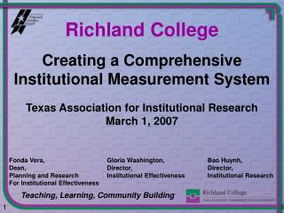 Creating a Comprehensive Institutional Measurement System