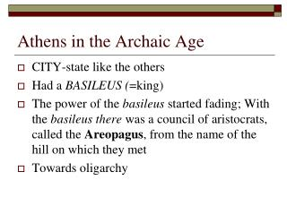 Athens in the Archaic Age