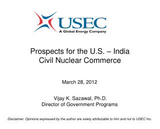 Prospects for the U.S. – India Civil Nuclear Commerce