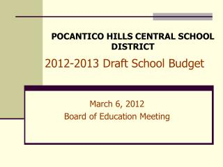 2012-2013 Draft School Budget