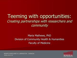 Teeming with opportunities:  Creating partnerships with researchers and community