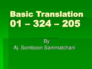 Basic Translation 01 – 324 – 205