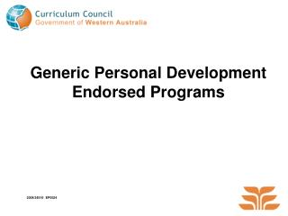 Generic Personal Development Endorsed Programs
